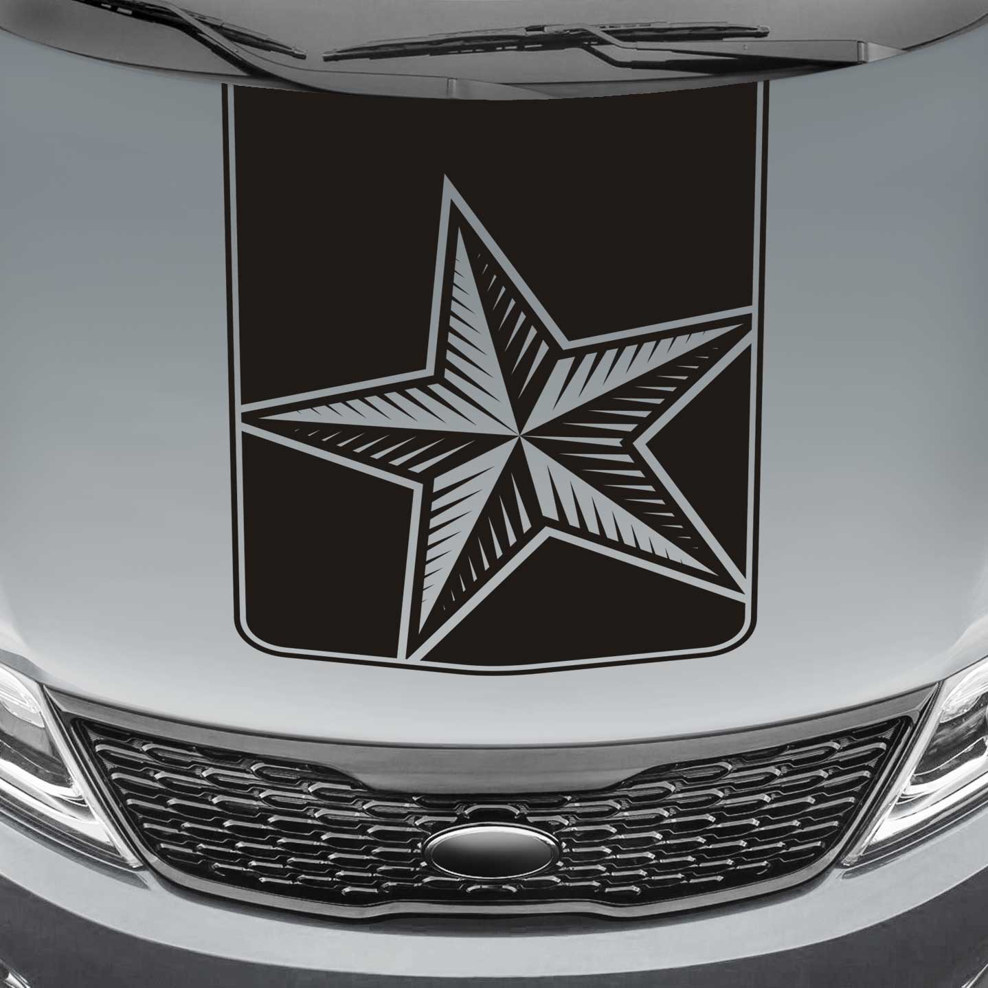 nautical star blackout truck hood decal sticker