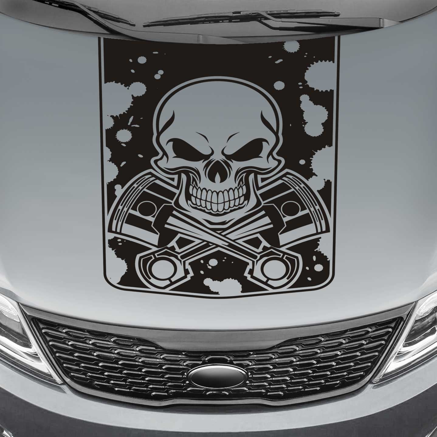 skull and pistons blackout truck hood decal sticker