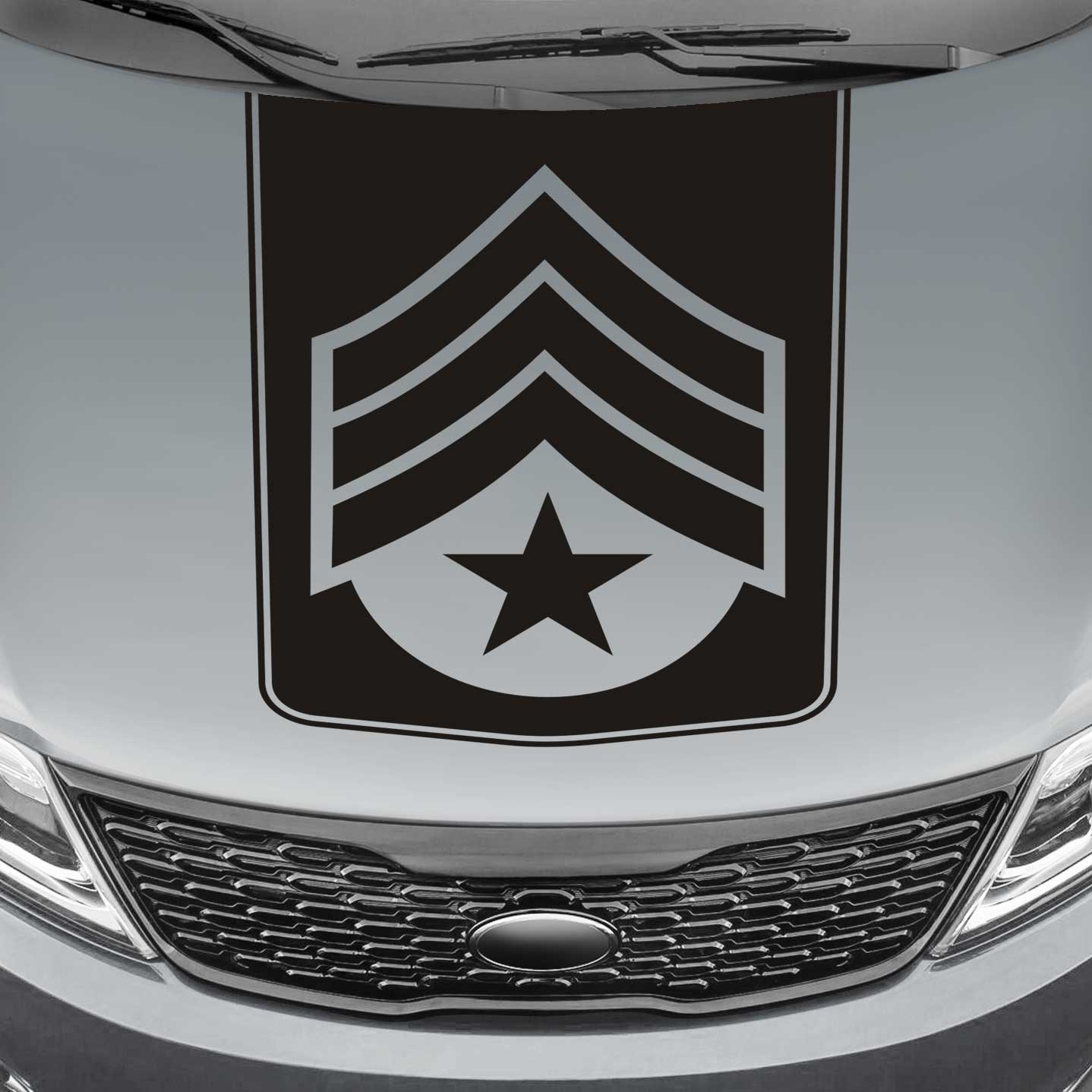 Sergeant Badge Blackout Truck Hood Decal Sticker