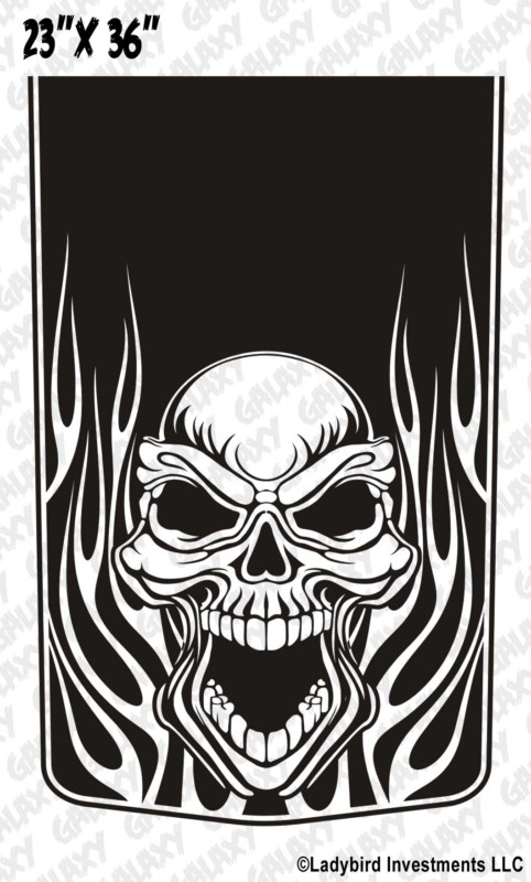 Skull Amp Flames Blackout Truck Hood Decal Sticker Skunkmonkey