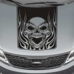 skull and flames blackout truck hood decal sticker