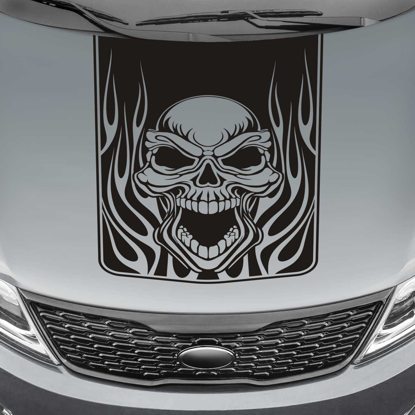 Skull & Flames Blackout Truck Hood Decal Sticker