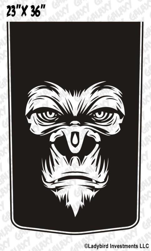 Gorilla Face Blackout Truck Hood Decal Sticker Skunkmonkey