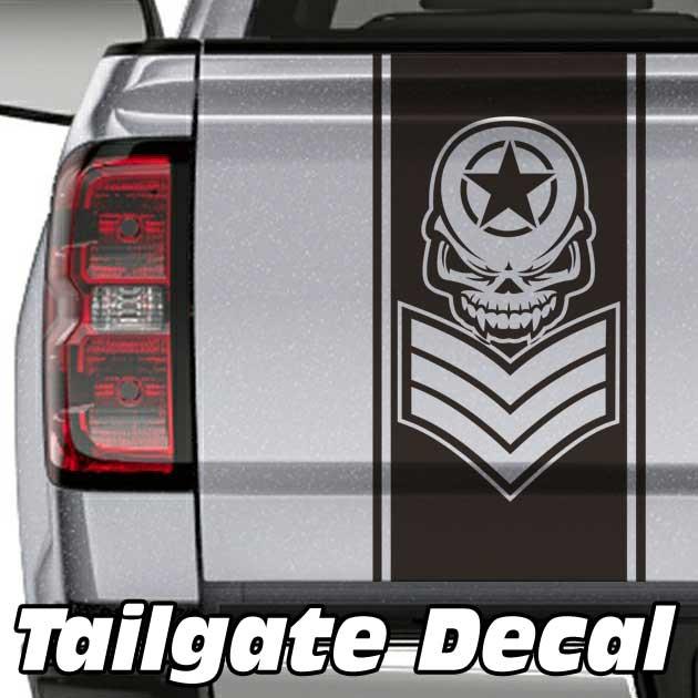 sergeant skull truck tailgate decal sticker