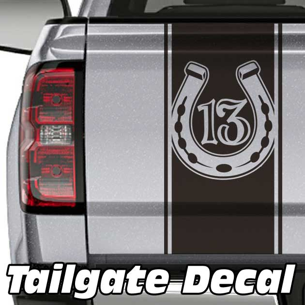 lucky 13 truck tailgate decal sticker