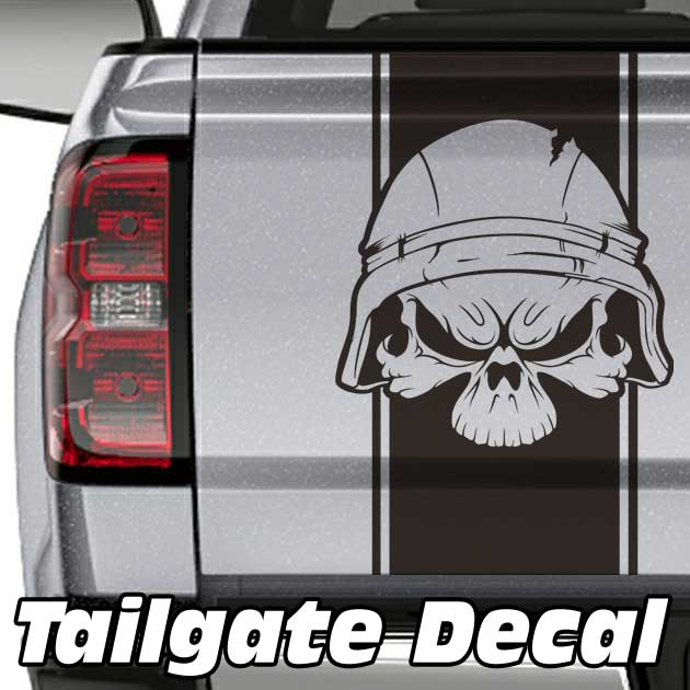 military skull truck tailgate decal sticker