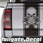 skull and pistons truck tailgate decal sticker