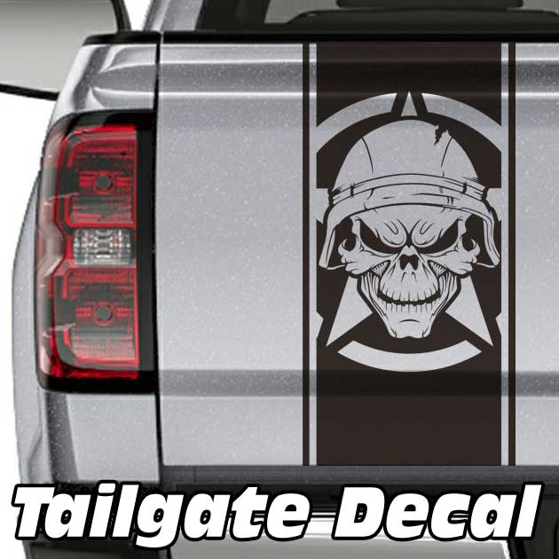 Army Skull Star Truck Tailgate Decal Sticker