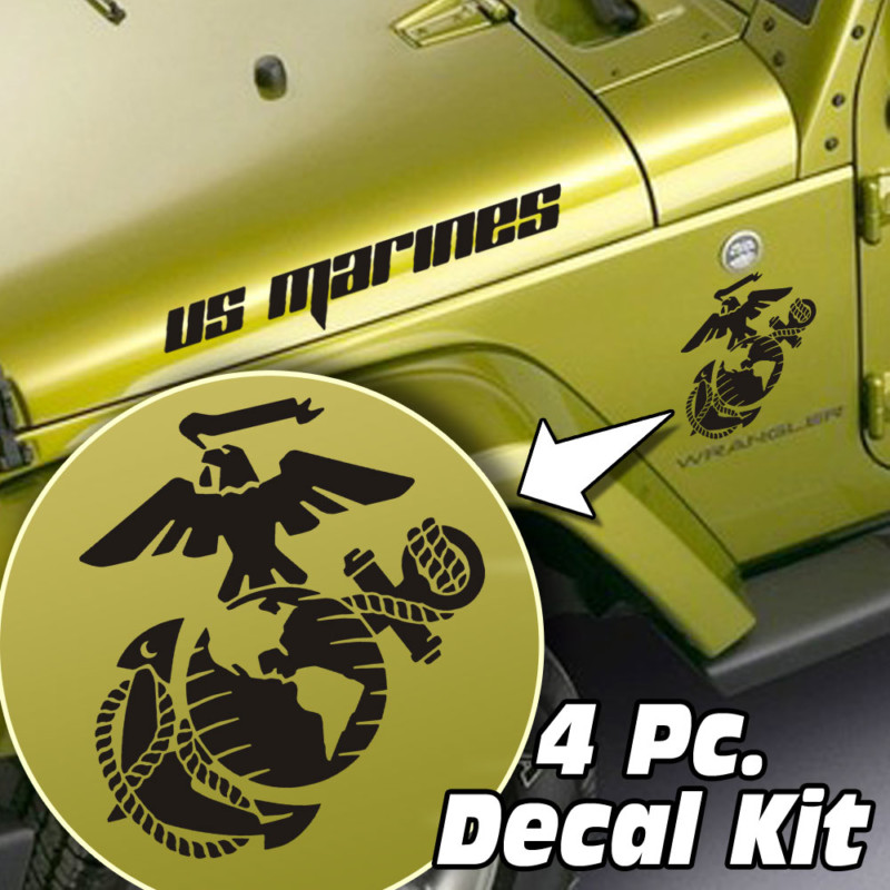 Jeep Wrangler 4 Pc. Hood / Fender US Marines Globe & Anchor Decal Kit