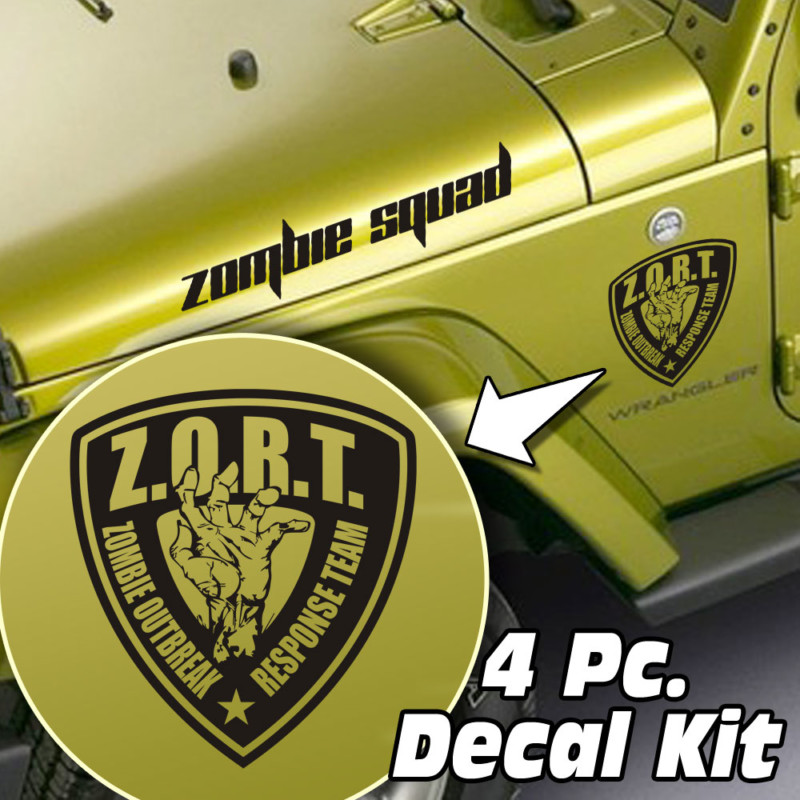 Jeep Wrangler 4 Pc. Hood / Fender Zombie Outbreak Decal Kit