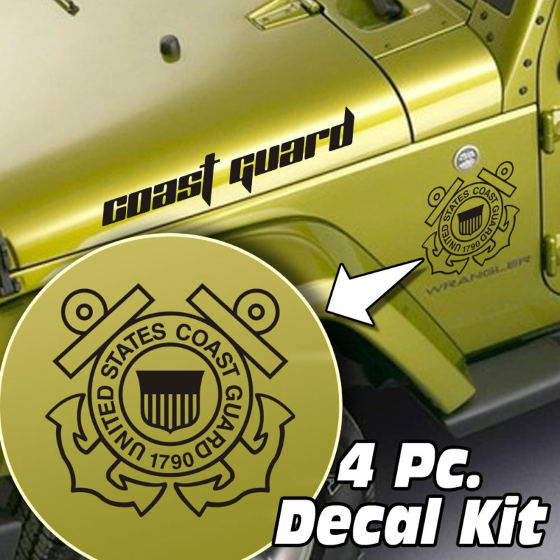 Jeep Wrangler 4 Pc. Hood / Fender US Coast Guard Decal Kit