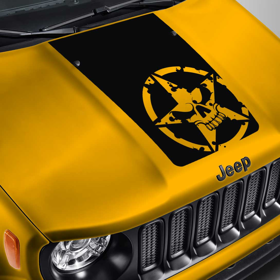 Jeep Renegade Blackout Army Star Skull Hood Decal