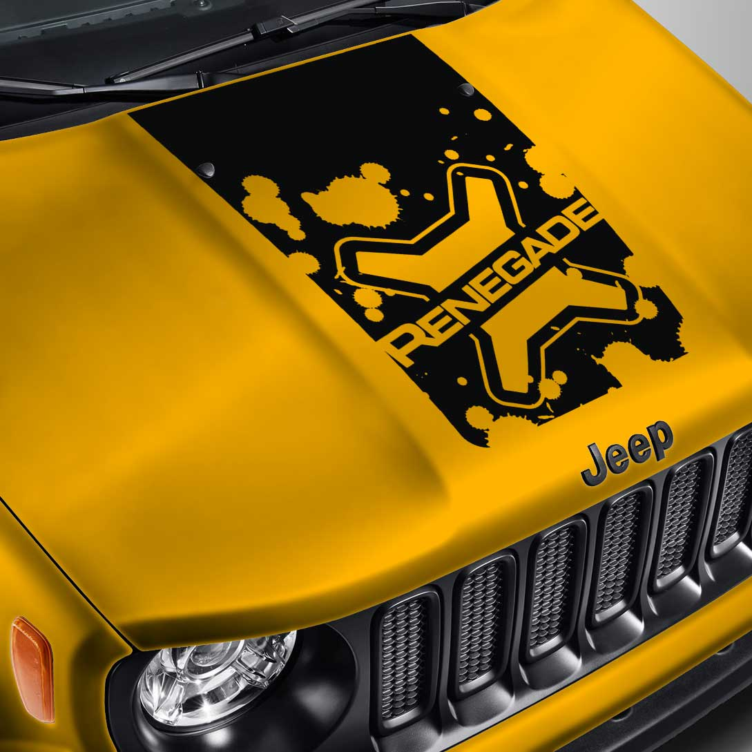 Lettered Logo Blackout Splatter Hood Decal – Fits Jeep Renegade