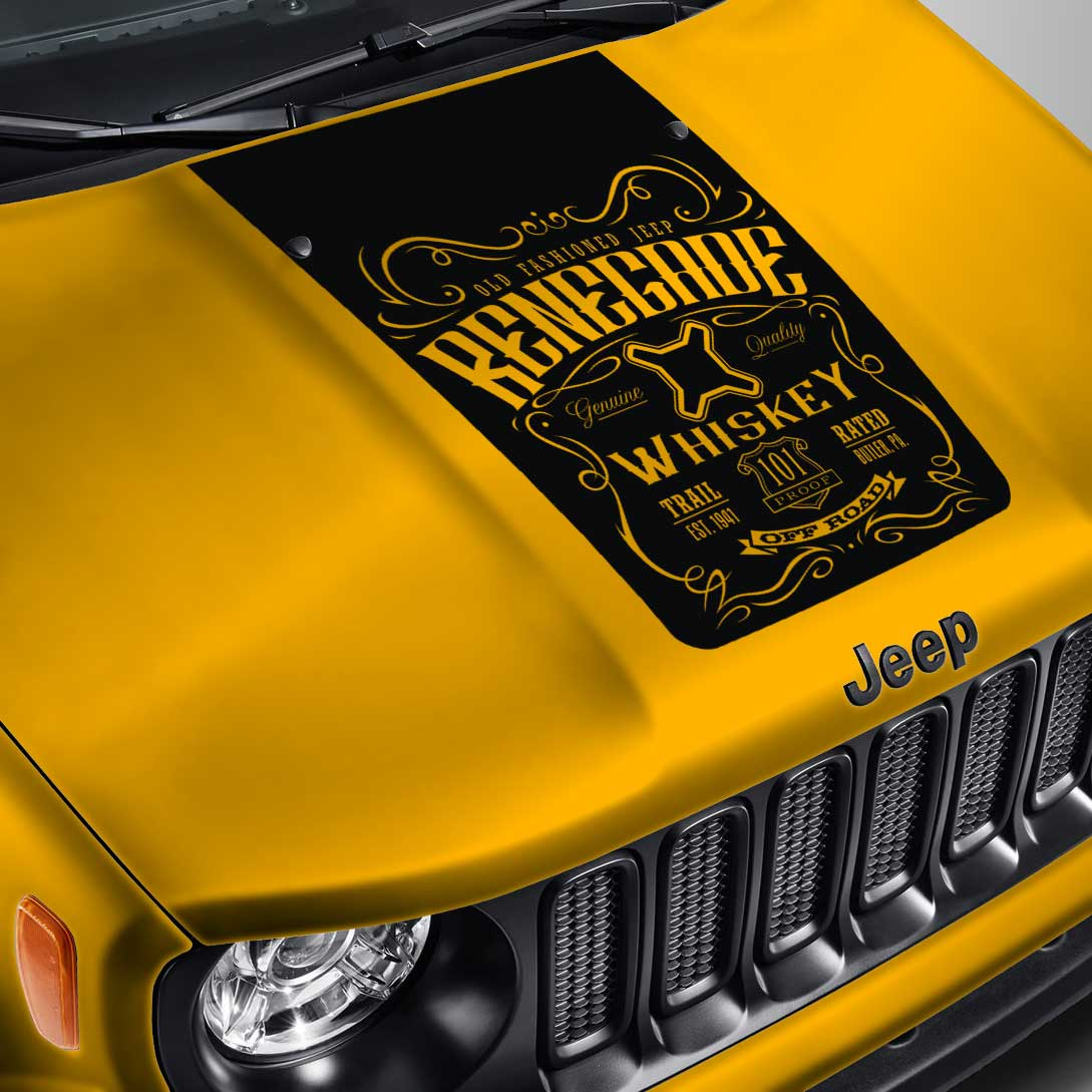 Jeep Renegade Blackout Whiskey Label #1 Hood Decal