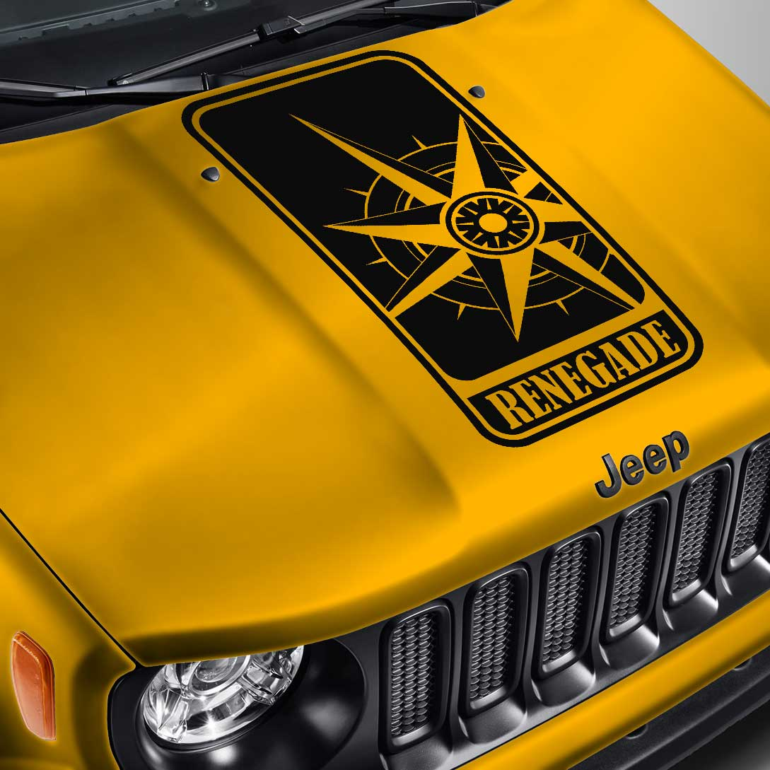 Jeep Renegade Blackout Compass Badge Hood Decal