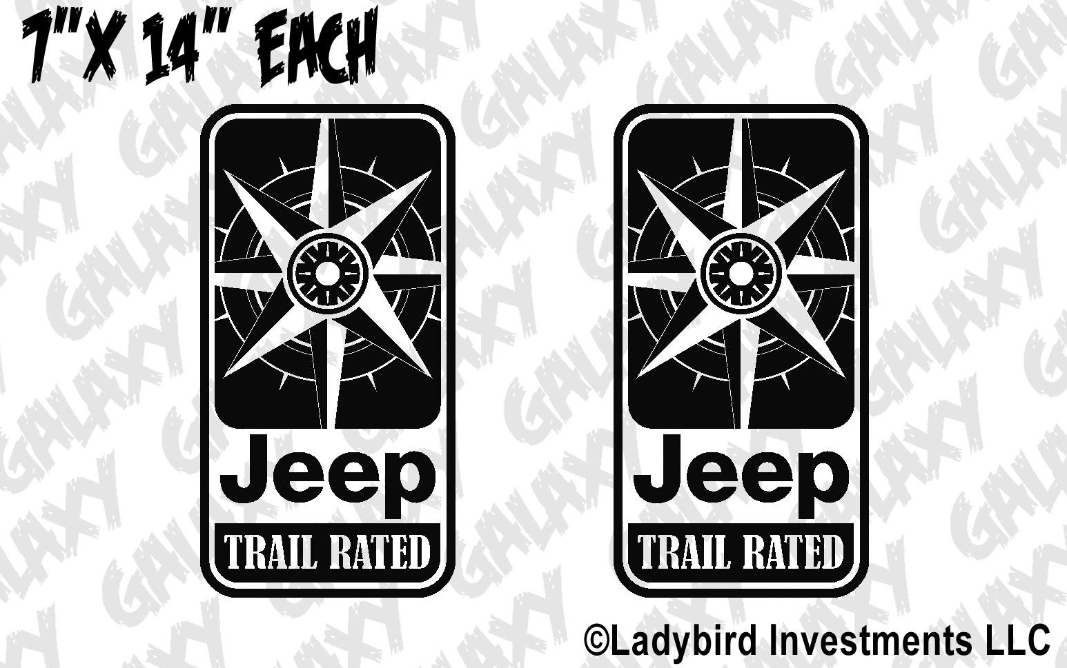 Jeep Wrangler Trail Rated Compass Door Decals Skunkmonkey