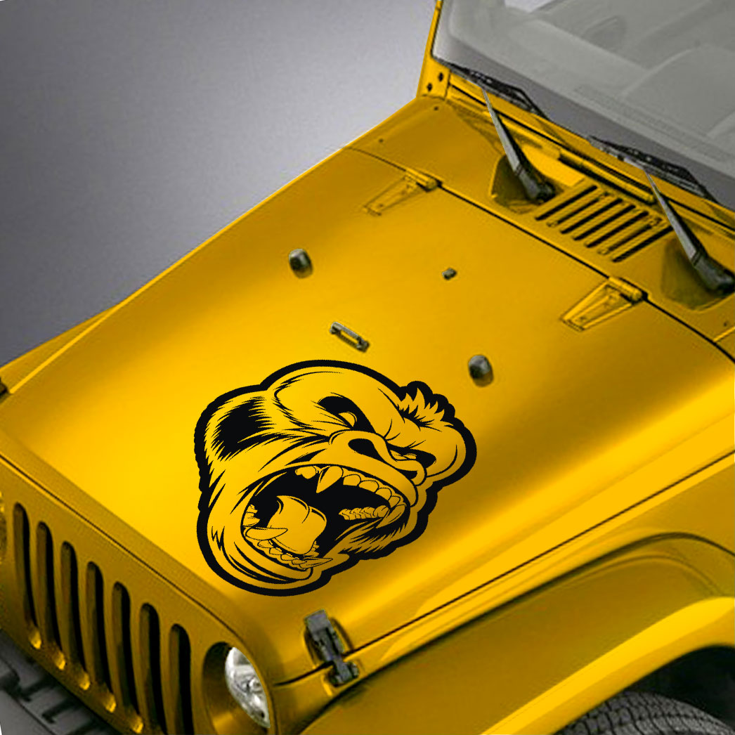Angry Gorilla Hood Decal Sticker – Fits Jeep Wrangler