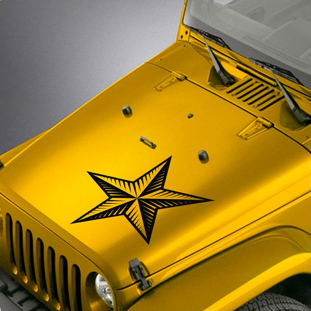 Nautical Star Hood Decal Sticker – Fits Jeep Wrangler