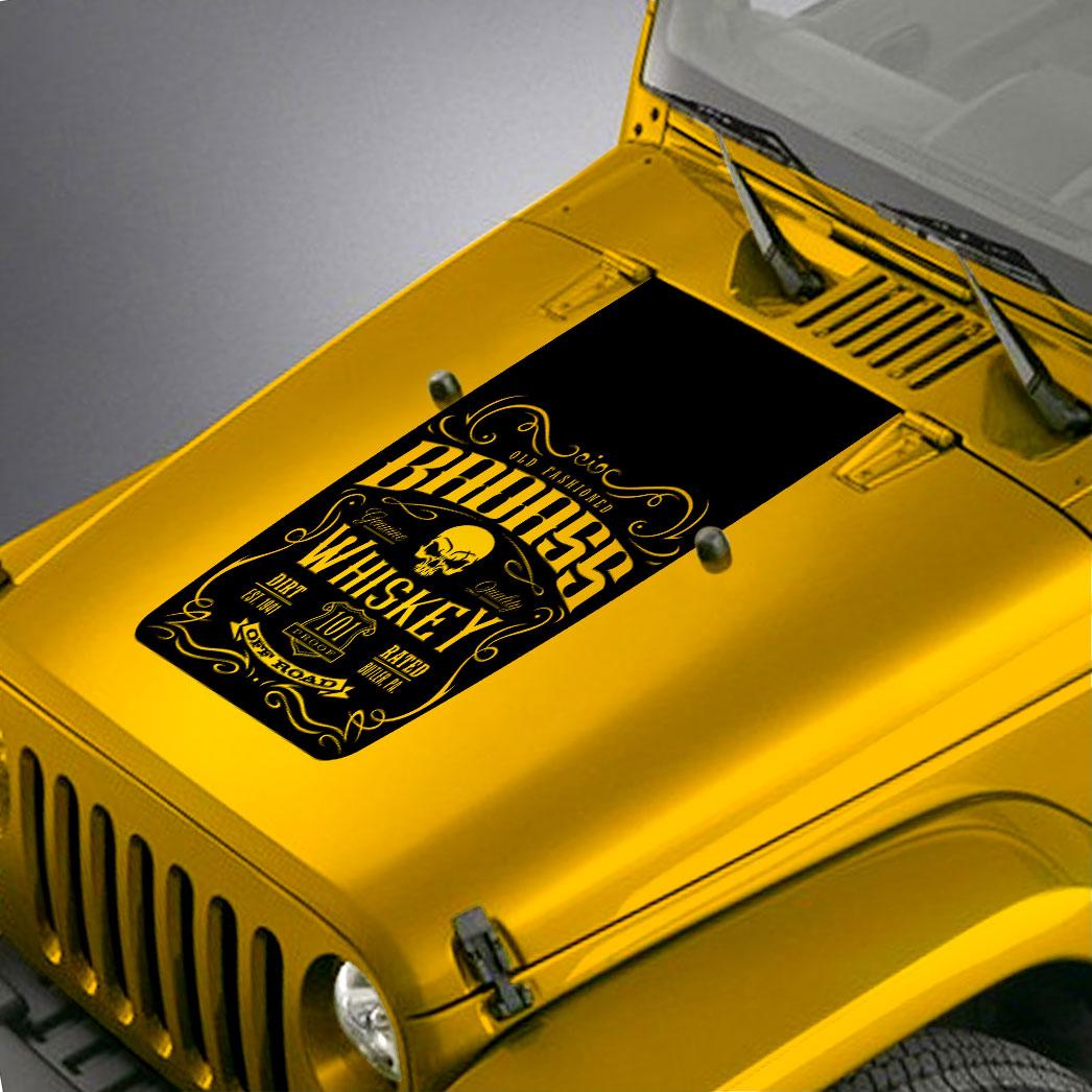 Badass Whiskey Label Blackout Hood Decal Sticker – Fits Jeep Wrangler