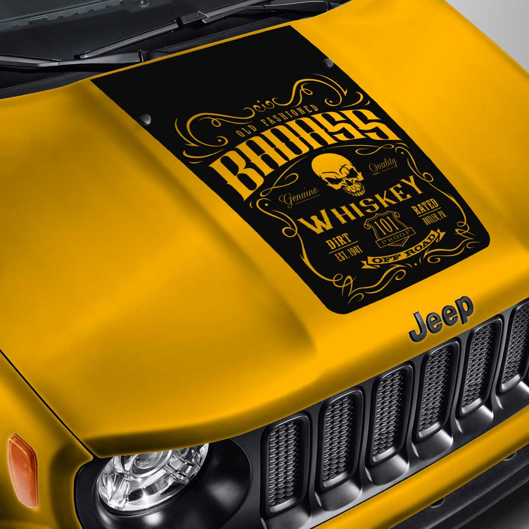 Blackout Whiskey Label #1 Hood Decal – Fits Jeep Renegade