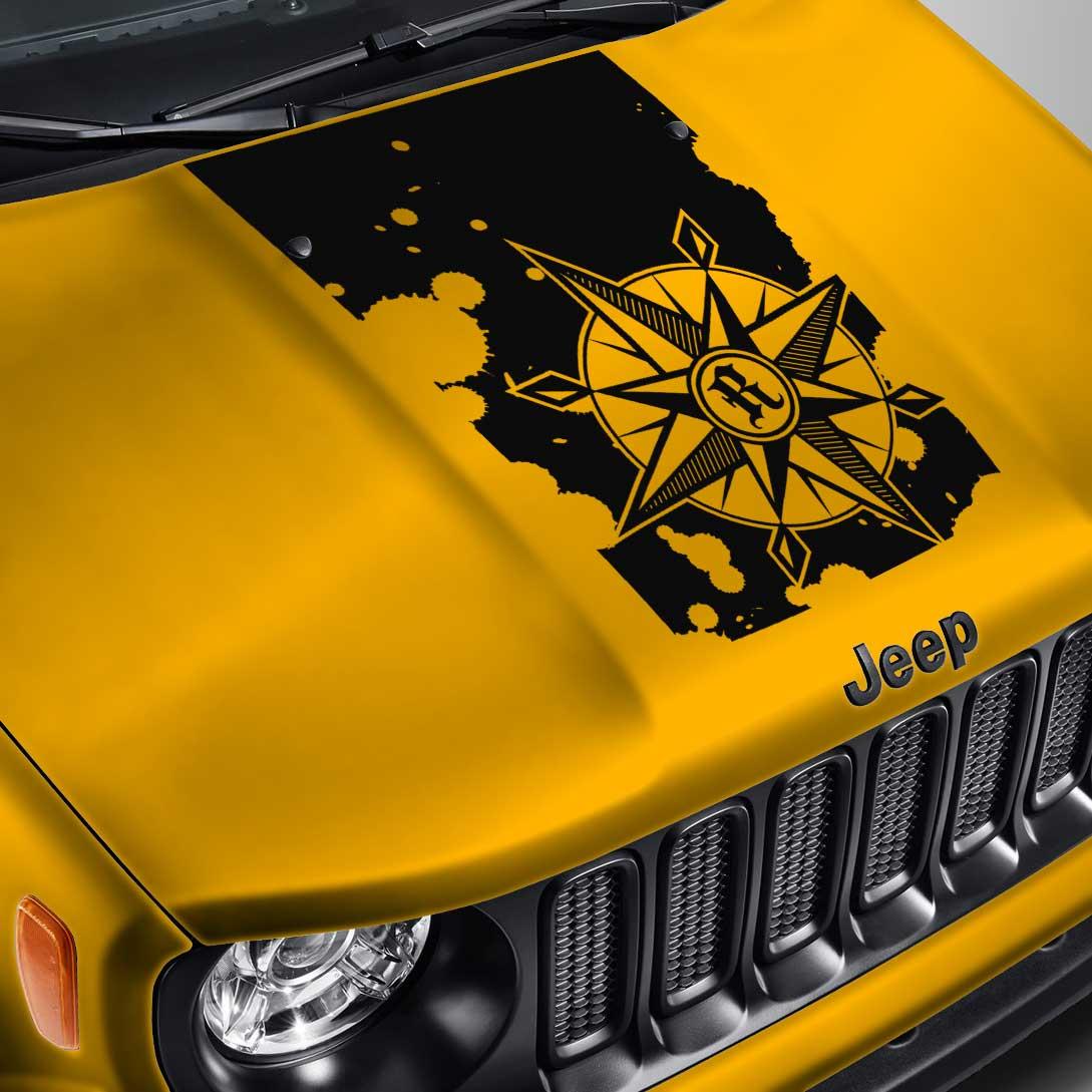 Compass Blackout Splatter Hood Decal – Fits Jeep Renegade